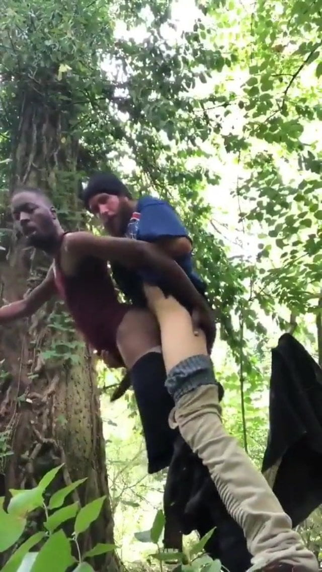 Interracial cruising in the woods