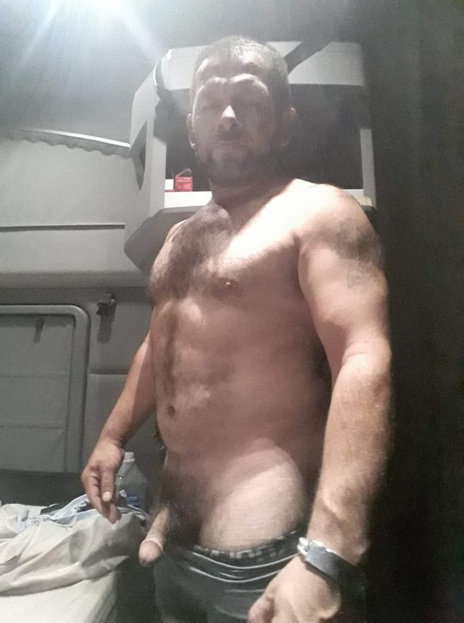 naked in the cab of his truck