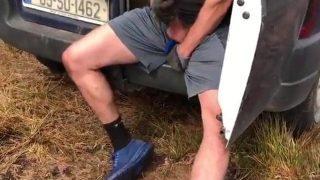 horny workman daddy cums in his van