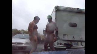 Guys Very Public Rainy Stroking in parking lot